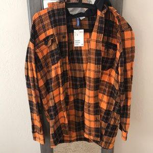Orange hooded flannel